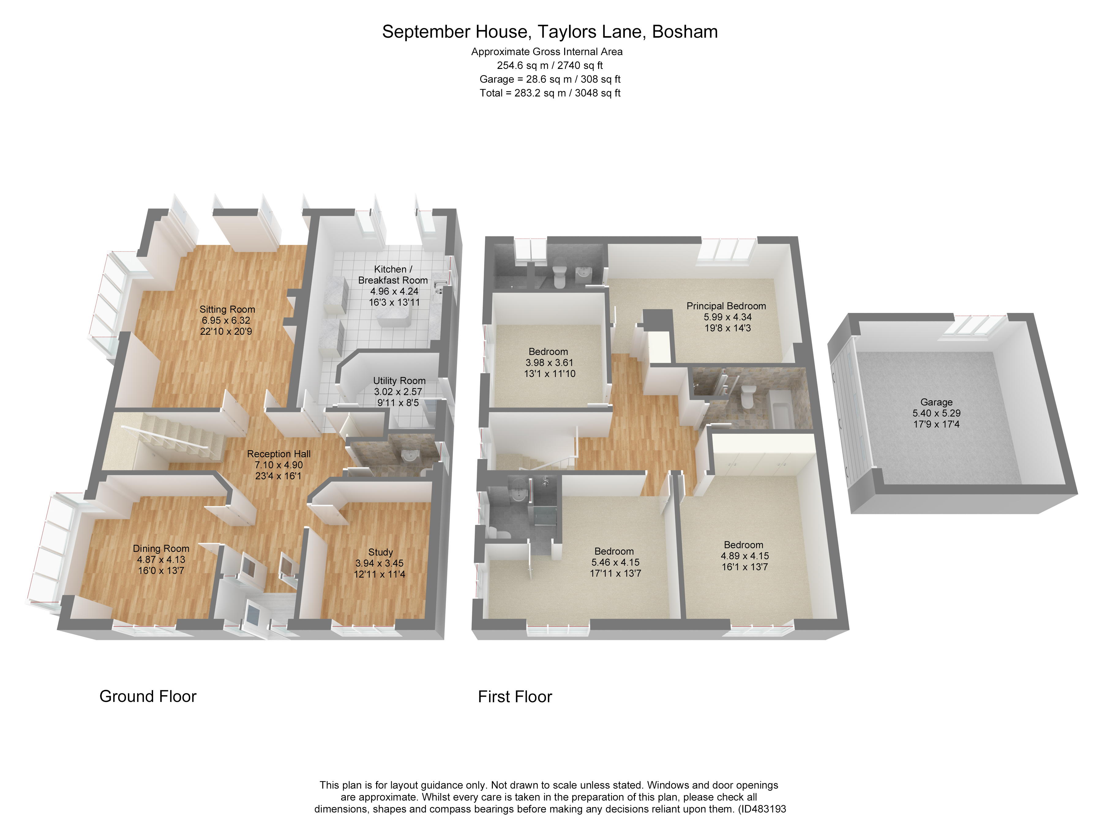 3D colour floor plan