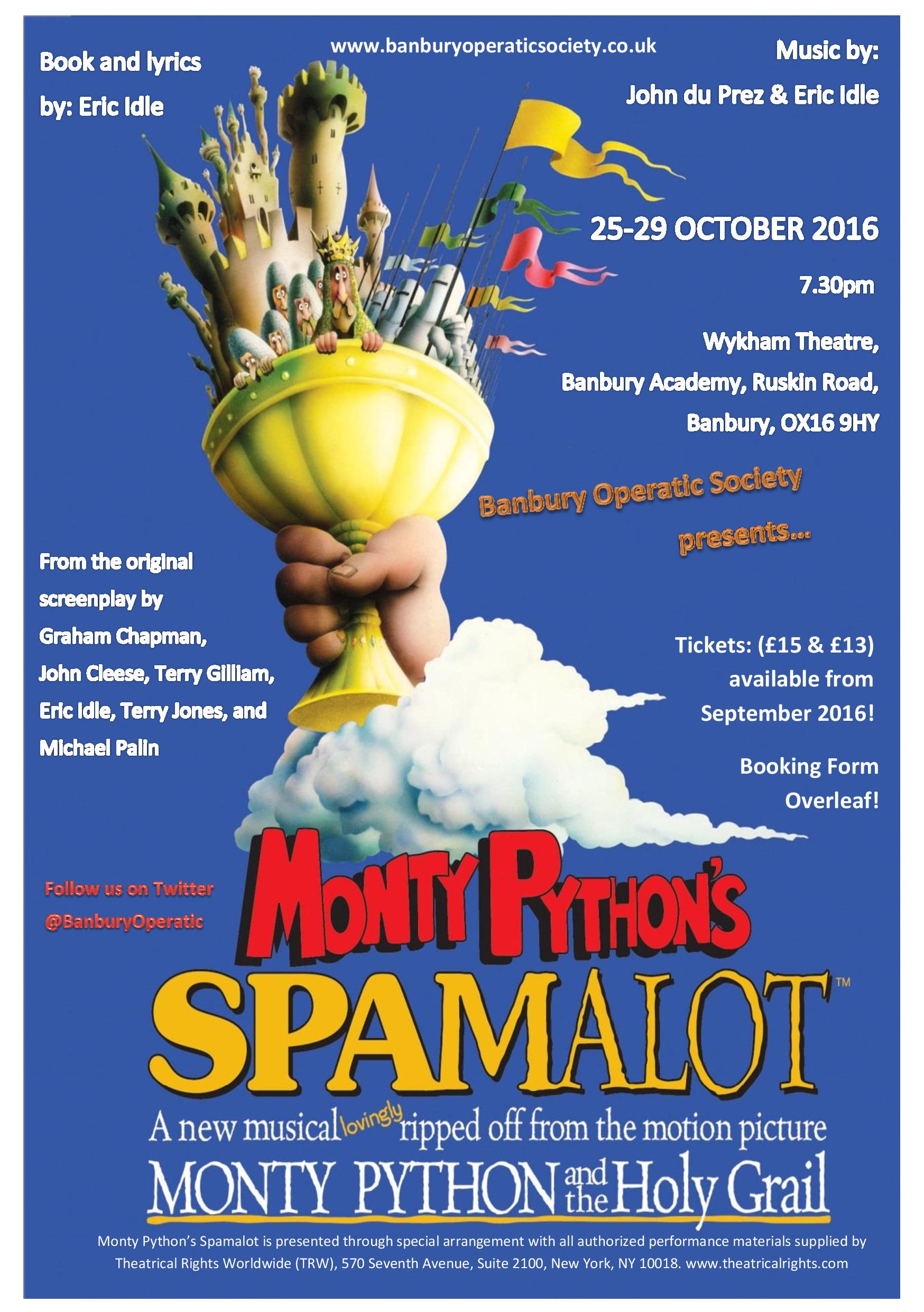 Spamalot - Banbury Operatic Society - Tickets on Sale | Anker and