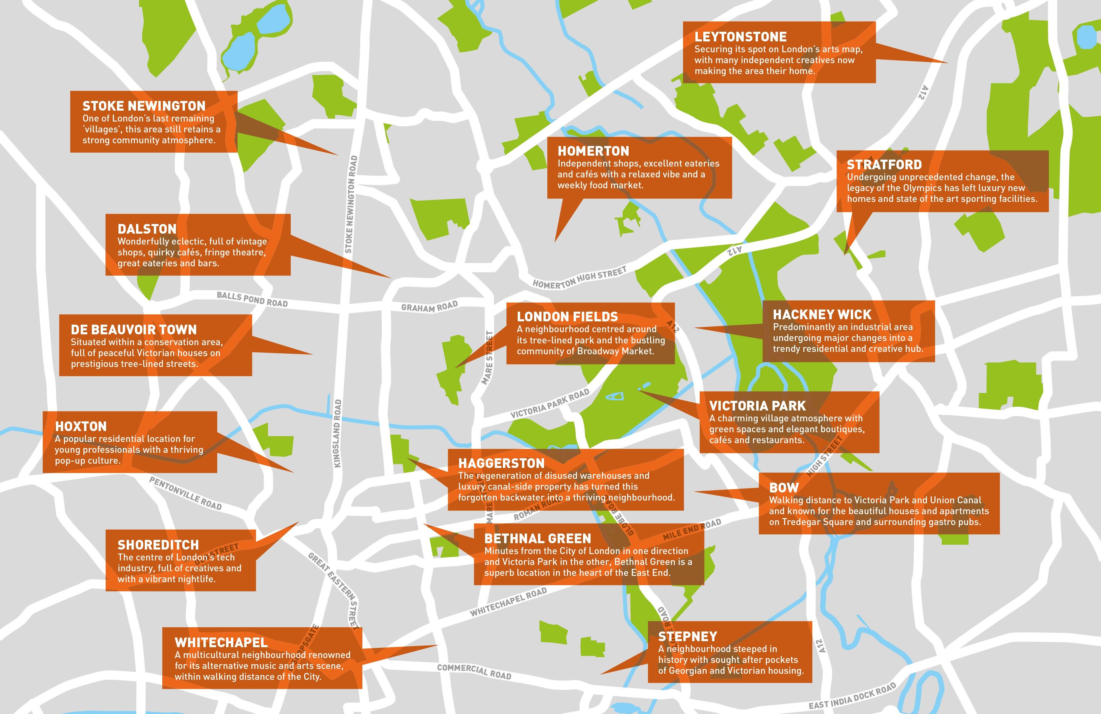 East End Of London Map.East London Estate Agent E1 E2 E3 E8 E9 E15 E20 E10 E11