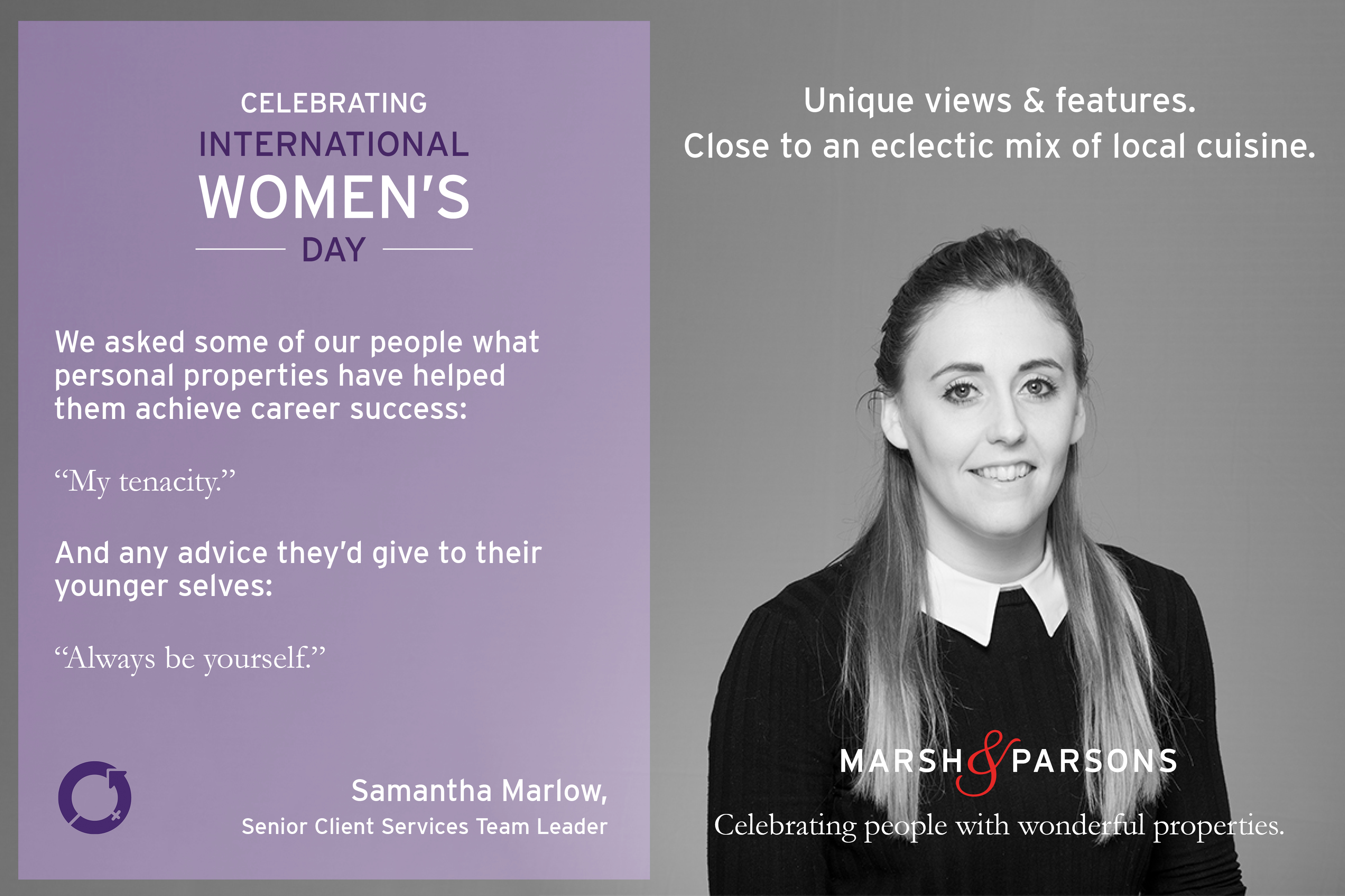 Samantha Marlow, International Women's Day