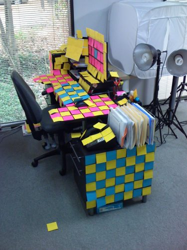 Prank, Desk covered in post-it notes